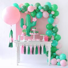 Cactus balloon with tissue paper flowers. Cactus Party styling by Happy Wish Company. Photography by Tammy Hughes Photography. Stationery by Minted artist, Baumbirdy. Birthday Party Desserts, First Birthday Parties, Birthday Decorations, Girl Birthday, Birthday Table, 30th Party, Birthday Ideas, Girls Birthday Party Themes, Llama Birthday