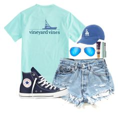 """""""Currently wondering why practice has to end at 9:30 pm"""" by valerienwashington on Polyvore featuring Vineyard Vines, Converse, Ray-Ban and tarte"""