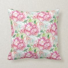 Designer Home Décor by Susan: Vintage Inspired Home Decor Floral Pillows, Home Decor Shops, Inspired Homes, Free Sewing, Watercolor Illustration, Custom Pillows, Hydrangea, Decorating Your Home, Vintage Shops