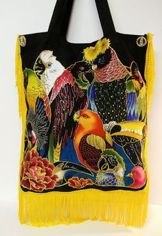Canvas Tote Bag Black with Custom Colorful Parrot HAnd Painted #Fabric #applique Design by paulagsell, $58.00 #circle1