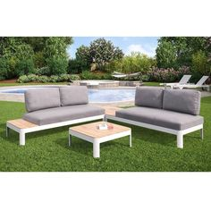Harper Blvd Camelia 4pc Outdoor Modular Conversation Set w/ Cushions and 2 Teak Tables