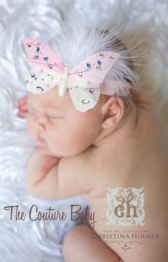 Pink Mariposa Jeweled Headband from The Couture Baby