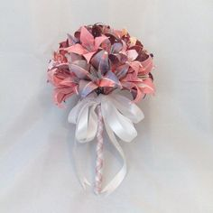 Origami Wedding Bouquet Bridal Party Posy, Paper Flowers Pink and Lavender. $65.00, via Etsy.