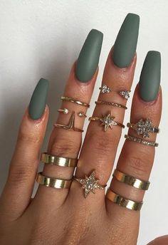 Long Coffin Nails - Matte Grace Green from Models Own khaki green polish