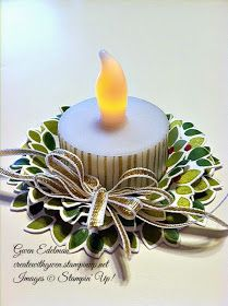 Wednesday, October 2014 Create with Gwen, Stampin Up! Independent Demonstrator, Gwen Edelman, Create with Gwen: Wreath Tea Light! Christmas Favors, Stampin Up Christmas, Christmas Paper, Christmas Projects, Handmade Christmas, Holiday Crafts, Christmas Holidays, Christmas Decorations, Christmas Ornaments