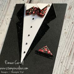 Masculine Birthday Cards, Masculine Cards, Black Sharpie, Card Making Techniques, Black Rhinestone, Suit And Tie, Pocket Detail, Stampin Up Cards, Celebrations