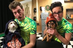 Rhett and Link with their dogs Barbara and Jade Youtube Red, Link Youtube, Youtube Stars, Link Fan Art, Good Mythical Morning, Pretty Men, Let Them Talk, Happy People, Crazy Cat Lady