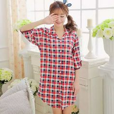 Find More Nightgowns & Sleepshirts Information about New Sexy Cotton Plaid Long Sleeve Sleepwear Nightgown Sleep Lounge Women's Clothing Home Dress Nightdress,High Quality dress ornament,China dresses evening Suppliers, Cheap clothing maternity from Sexy Girl's Club on Aliexpress.com