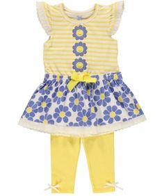 Little Lass Baby Girls Newborn 2 Piece Fancy Dress Set Woven Eyelet