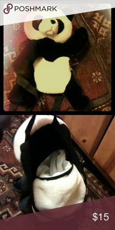 Kids panda backpack. Fake fur, lining, 1 pouch Kids black and white panda. Looks like a stuffed animal with 2 black straps but has a pocket in the back that is fully lined. New no tags no brand  Accessories Bags