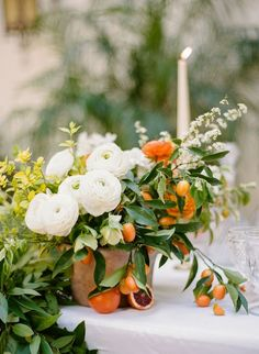 Citrus Wedding Inspiration with Late Afternoon Wedding details flowers Wedding Table Centerpieces, Floral Centerpieces, Floral Arrangements, Wedding Decorations, Table Wedding, Orange Wedding Arrangements, Graduation Centerpiece, Quinceanera Centerpieces, Candle Centerpieces