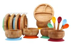 Gorgeous bamboo baby plates, bowls, and spoons! Natural and beautiful - perfect for feeding time. Ad