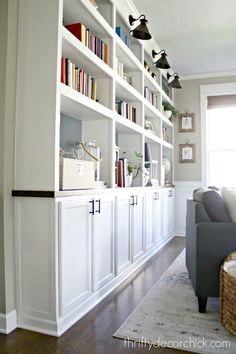 How to create custom built ins with kitchen cabinets How to use affordable, unfinished kitchen cabinets to create built in storage and bookcases. - How to build DIY built ins using kitchen cabinets Unfinished Kitchen Cabinets, Used Kitchen Cabinets, Office Cabinets, Kitchen Shelves, Kitchen Built Ins, Diy Cupboards, Pantry Cabinets, Ikea Cabinets, Upper Cabinets