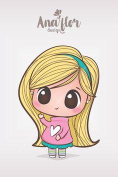 Cute Cartoon Girl, Cartoon Girl Drawing, Cartoon Drawings, Kawaii Drawings, Cute Drawings, Cute Paintings, Cute Coloring Pages, Art Drawings For Kids, My Art Studio