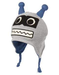 Cozy robot hat with antennae for toasty winter style.
