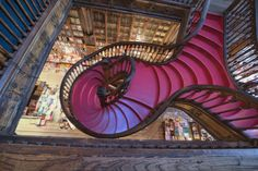 Lello and Irmao bookshop, Spiral stairs, Oporto, Portugal, Europe Machu Picchu, Siena, Portugal, Shop Interiors, Ms Gs, Colour Images, Travel Destinations, Around The Worlds, Stairs