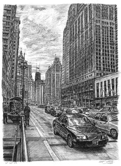 Chicago street scene by Stephen Wiltshire MBE (amazingly talented artist who also happens to be autistic)