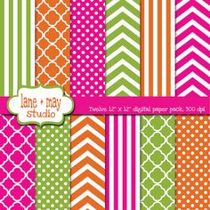 orange hot pink and green digital scrapbook papers by lane + may, $6.00