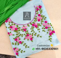 Best 12 WhatsApp 9035330901 for hand embroidery materials. (No COD /Only Retail). Shipping all over India. Embroidery On Kurtis, Hand Embroidery Dress, Kurti Embroidery Design, Embroidery Materials, Hand Embroidery Videos, Embroidery On Clothes, Beaded Embroidery, Hand Embroidery Patterns Flowers, Simple Embroidery Designs