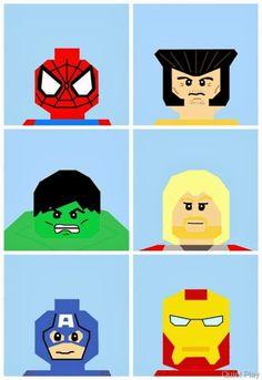 shinykari: Marvel LEGO superheroes paper piecing patterns