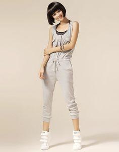 Women New Cotton Jumpsuit Shown Thin Grey Pants One Size@IM3001g
