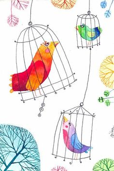 Bird blocks in cages....