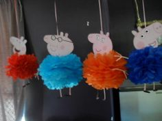 Peppa Pig pom poms made by me Mais Pig Birthday, 4th Birthday Parties, Birthday Ideas, Peppa Big, George Pig Party, Cadre Diy, Cumple Peppa Pig, Pom Poms, Barn