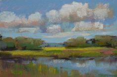 Landscape Painting Clouds Contemporary ART Original Pastel Painting GREEN