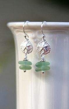Sea glass earrings sterling silver sand dollar by HollyMackDesigns, $45.00