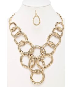 Chain Hoop Link Statement Necklace Gold #shoplately
