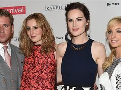"""Downton Abbey"" stars, from left, Allen Leech, Laura Carmichael, Michelle Dockery and Joanne Froggatt tease the upcoming season at the 2014 Summer TCA Tour on Tuesday."
