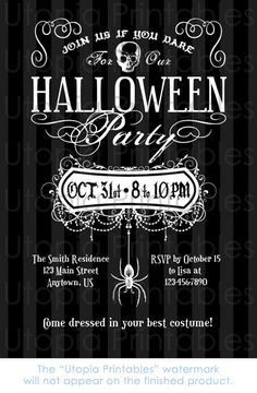 Halloween Party Invitation Skull Spider Fancy by UtopiaPrintables
