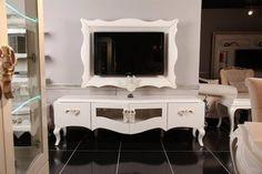 Beyaz Avangard TV Ünitesi | Masko Mobilya Kenti Rak Tv, Tv Unit Design, Media Unit, Framed Tv, Custom Kitchens, My Furniture, Tv Cabinets, Luxury Homes, Interior Decorating