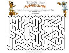 A maze activity sheet for kids from the story, Escape from Egypt.