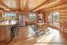 Western Red Cedar Log Cabin Home Country Style Kitchen and Dining Room