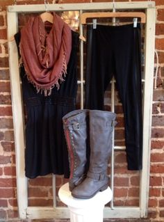 Our little black dress is the feature for our outfit of the day! We've paired it with our leatherette accent leggings, riding boots, and fringe infinity scarf for a look that will still turn heads while keeping you warm! Order online! Dress: http://8thstreetboutique.com/products/black-leatherette-detail-dress Legging: http://8thstreetboutique.com/collections/bottoms/products/black-pleather-side-leggings Boots…