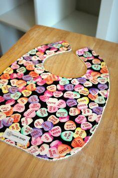 Sweethearts Valentine's Day Bib : Plastic Lined Bib.