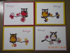 made with scraps!.... love the glittery metallic paper used on each owl