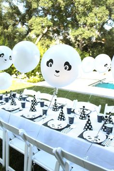 Squee!!! Adorable party table with panda balloons from a chic Party Like a Panda Birthday Party at Kara's Party Ideas. See this monochromatic party and more at http://karaspartyideas.com!