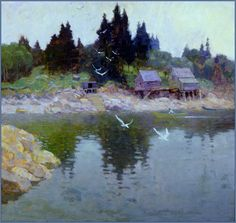 N.C. Wyeth, Untitled (view of two fishing shacks), c. 1922-30