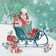 Cartita Design ©2014 #Christmas #illustration #girl #sleigh #shopping #snow #girly #winter