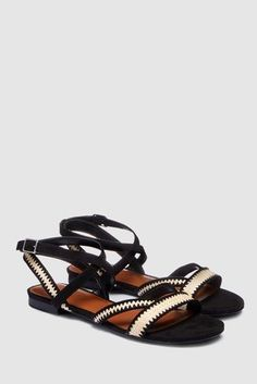 63c03ae1439 Buy Black Forever Comfort® Raffia Detail Sandals from the Next UK online  shop