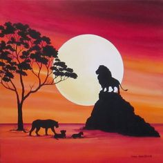 Original Landscape Painting by Carol Sabo Africa Painting, Lion Painting, Africa Art, Acrylic Painting Canvas, Watercolor Paintings, Canvas Art, Family Painting, Silhouette Painting, Animal Silhouette