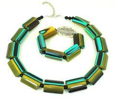 Green and Turquoise Resin Choker Classic jewelry by 1ofaKindJewlrybyIris, $110.00 set. For more details , click on the Etsy link.