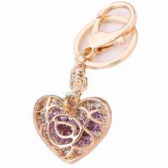 Chaveiro Creative Trinket Luxury Pierced Heart Crystal Key Chain Ring Holder llaveros Women Charm Bag Accessories Souvenir R154