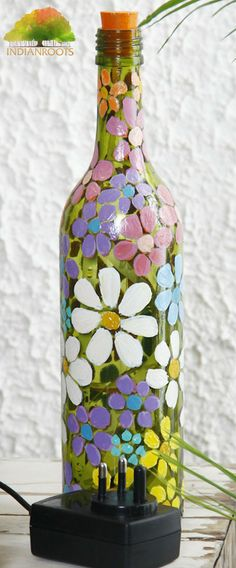 Hand Painted Flower Glass Bottle Table Lamp by Bottles Not Empty on Indianroots.com