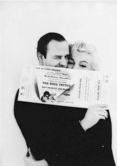 Marlon Brando and Marilyn Monroe photographed by Milton Greene for The Actor's Studio Rose Tattoo Benefit, 1955.