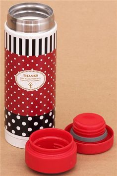 red polka dot and stripes thermo bottle from Japan