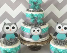 SET OF 3 Owl Diaper Cakes in Turqoise/Teal, Gray and White, Owl Baby Shower Centerpieces – baby Owl Baby Shower Decorations, Boy Baby Shower Themes, Baby Shower Centerpieces, Baby Shower Parties, Baby Shower Gifts, Cake Centerpieces, Boy Baby Shower Cakes, Baby Cakes, Cake Decorations