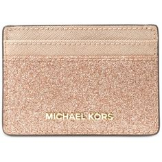 Michael Michael Kors Card Holder (96 BAM) ❤ liked on Polyvore featuring bags, wallets, rose gold, card holder wallets, metallic bag, card carrier wallet, card case wallet and party bags